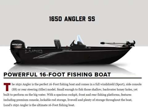 Lund Boats 1650 Angler SS