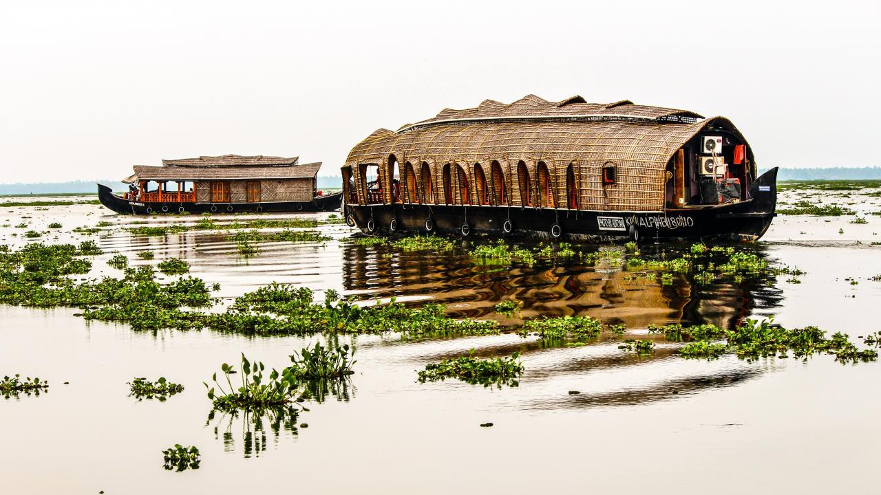 Wohnschiffe gibt es praktisch überall wo es Wasser gibt, hier in Kerala Indien...