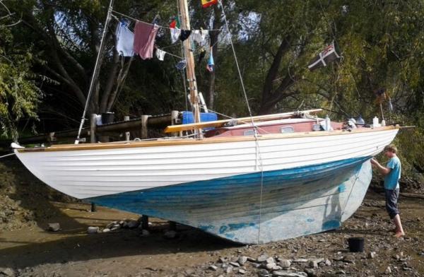 Mit diesem Folkeboot segelte Sampson über den Atlantik