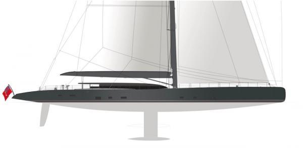 Seitenansicht der Yacht