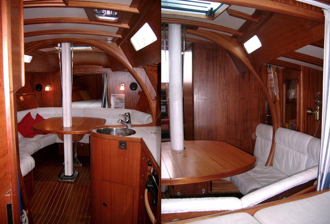Der Rahmenspant bietet Blick nach vorne und aus dem Vorschiff nach achtern