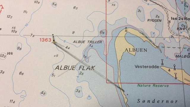 Kreuzpeilung mit dem Standort des nordwärts getriebenen Bootes