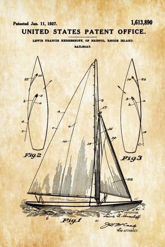 Das Herreshoffsche Patent für doppellagige Vor- und Großsegel zwecks besserem Windanschnitt
