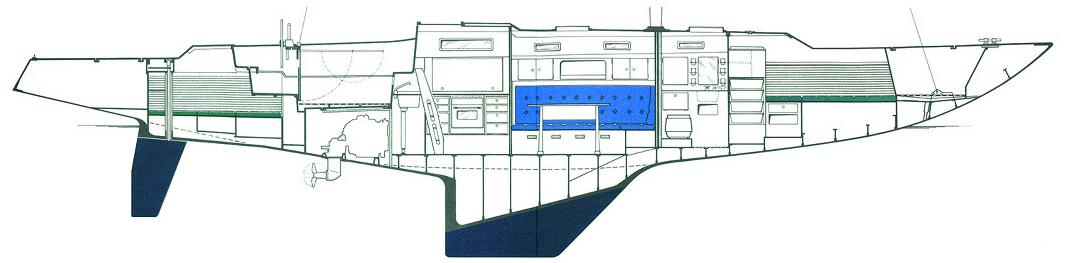 Seitenansicht meiner Swede 55. Besorgen Sie sich den Einrichtungsplan Ihres Bootes und berücksichtigen die tatsächliche anstelle der geplanten Wasserlinie